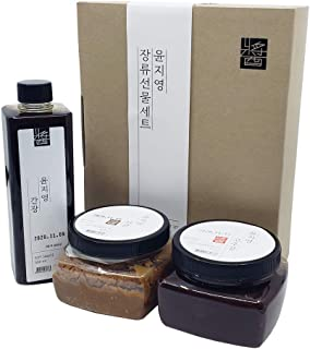 Korean Traditional 100% All Natural Fermented Soybean Paste 450g (Doenjang), Red Pepper Chilli Paste 450g (Gochujang), Soy Sauce 500ml (Ganjang) Set, Non-GMO, Gluten-Free