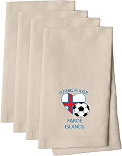 Future Soccer Player Faroe Islands Cotton Canvas Dinner Napkin, Set of 4