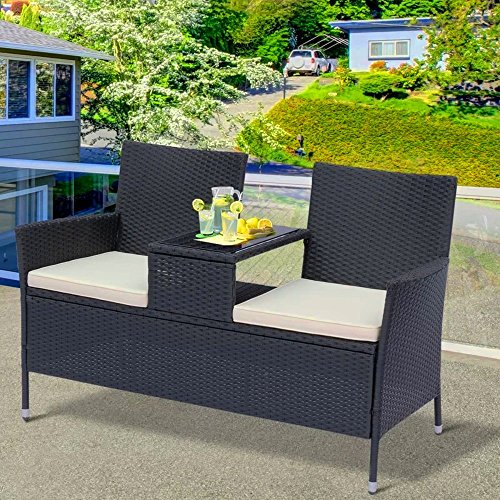 STS SUPPLIES LTD Rattan Outdoor Seating Garden Furniture Brown Unit Set 2 Seater Outside Luxury Small Wicker Weatherproof Contemporary Patio Summer Home Companion Seat &E Book