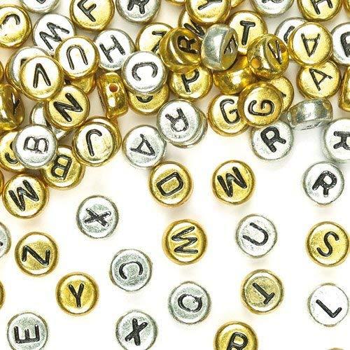 Baker Ross ABC-Perlen Gold & Silber für Kinder zum Basteln und für Schmuck (400 Stück)