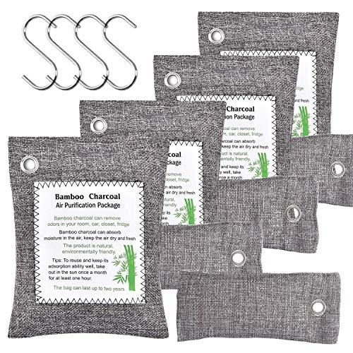 FUNFLOWERS Paquete de 8 bolsas purificadoras de aire de carbón de bambú con ganchos, apto para niños y mascotas, bolsas de carbón...
