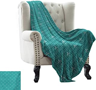 Ultra Soft Flannel Fleece Blanket Fleur De Lis,Monochrome Medieval Motifs Pattern French Royal Lily Victorian,Turquoise and Pale Blue Super Soft and Warm,Durable Throw Blanket 30