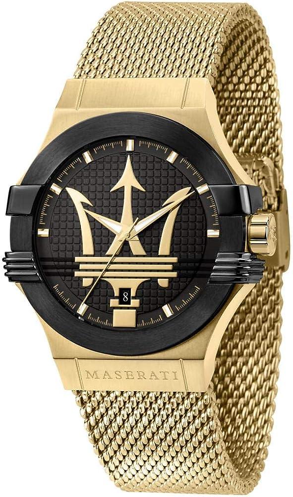 Maserati orologio da uomo, collezione potenza, in acciaio, pvd oro giallo 8033288892328