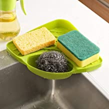 LookNSnap Multipurpose Kitchen Sink Organizer Plastic Corner Tray (Small, Green)