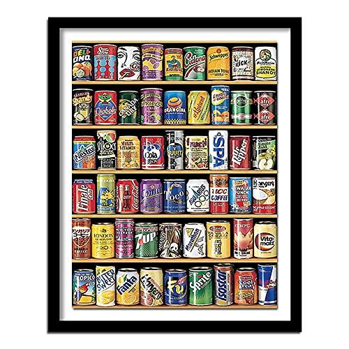 Yunzezka Pintura por Números para Adultos Bebidas En La Máquina Expendedora Pintura por Kits De Números para Niños Principiantes-Sin Marco 40x50cm
