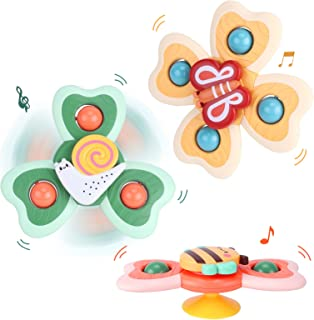 LZZAPJ Suction Cup Spinning Top Toys, Suction Baby Bath Toys, 3 Pack Toddler Bathtub Toys