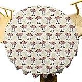 VICWOWONE - Mantel redondo de 55 pulgadas, estilo vintage, dibujado a mano, diseño de setas, hojas que caen sabrosos veganos, mesa decorativa coral verde crema