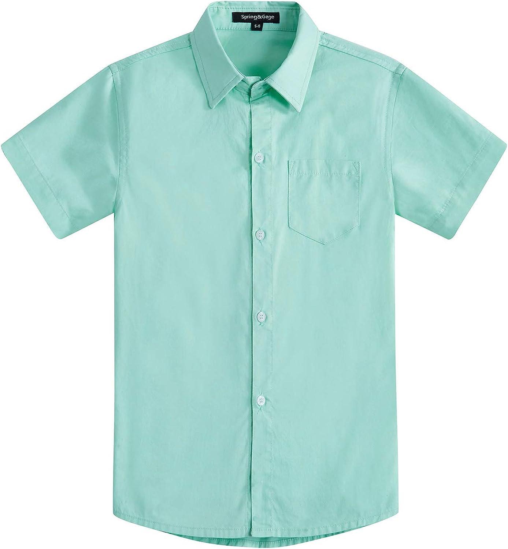 Spring&Gege Boys' Short Sleeve Dress Shirts Formal Uniform Woven Solid