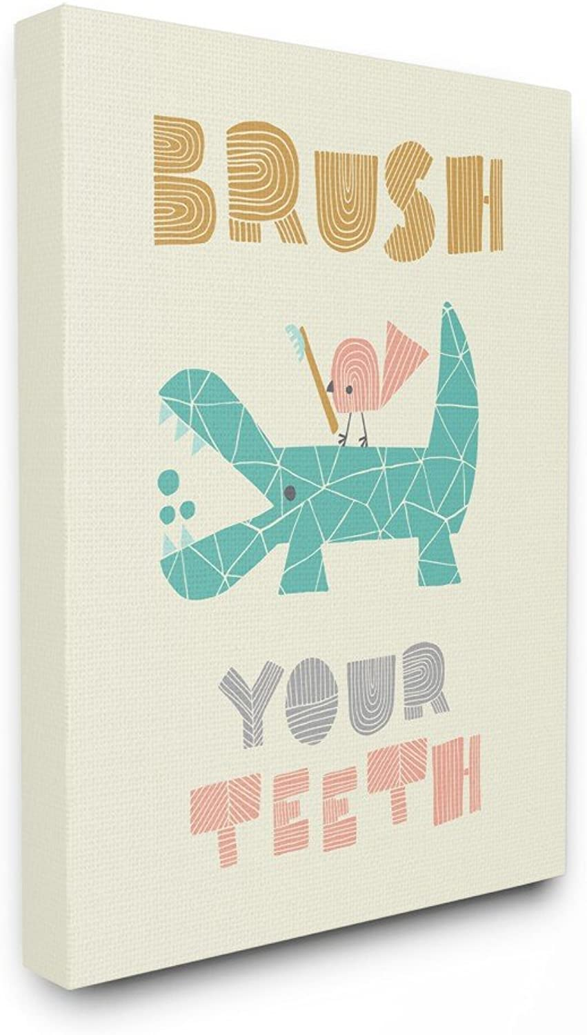 The Kids Room by Stupel Brush Your Teeth Mod Crocodile Stretched Canvas Wall Art, 16 x 20, Multicolor