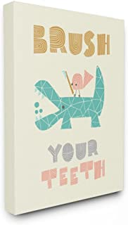 The Kids Room by Stupell Brush Your Teeth Mod Crocodile Stretched Canvas Wall Art, 16 x 1.5 x 20, Proudly Made in USA