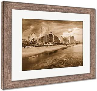Ashley Framed Prints Daytona Beach Skyline, Wall Art Home Decoration, Sepia, 34x40 (Frame Size), Rustic Barn Wood Frame, AG5919823