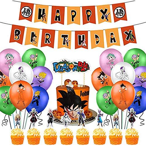 WOJIM - Decoración de Globos de cumpleaños con Tema de Dragon Ball, pancartas de Globos de Feliz cumpleaños, decoración de Fiesta de Fondo de cumpleaños