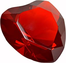 """Heart Paperweight Crystal 3"""" Wide Engravable Solid Color Glass 80mm Red"""