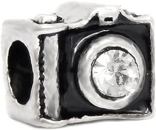 J&M Black Camera with Crystal Charm Bead for Bracelets