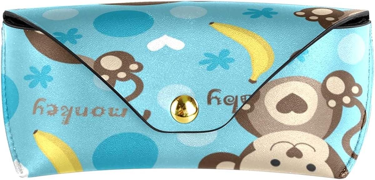 Sunglasses Case Eyeglasses Pouch PU Leather Cute Animal Baby Monkey Fruit Banana Goggles Bag School Portable Multiuse