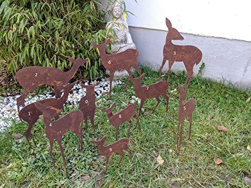 Zen Man Edelrost Hirschfamilie Metall-Hirsch REH Rost Metall Rostfigur Metalldeko Gartenfigure Weihnachten Weihnachtsdeko (9: 14*H16cm)