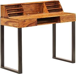 vidaXL Madera Acacia Maciza Escritorio Sheesham y Acero Mobiliario para Estudiar u Ordenador Muebles Casa Oficina Decoración Interiores 100x55x94 cm