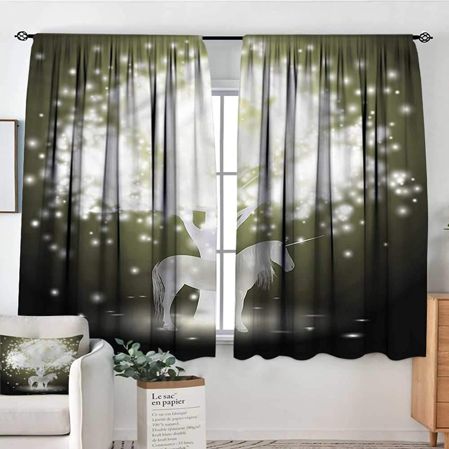 Sanring Magic,Curtain rods Unicorn Horse with Tree 52 x63  Backout Draperies for Bedroom