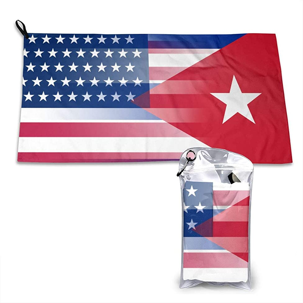 USA Cuba Flag Microfiber Gym Towels Hair Towel Sports Fitness Workout Sweat Towel Fast Drying 16 Inch X 32 Inch
