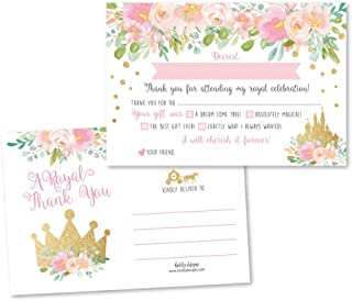 25 Princess Fill In The Blank Thank You Cards for Kids, Royal Queen Crown Postcard Idea, Gold And Pink Floral Castle Carriage Party Note, Little Girl Toddler Birthday, Blush Confetti Glitter Theme