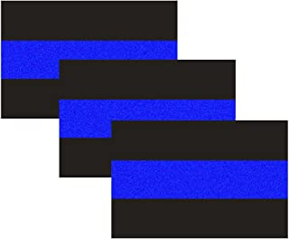 3 Pack Reflective Police Thin Blue Line Bumper Decal Stickers 4