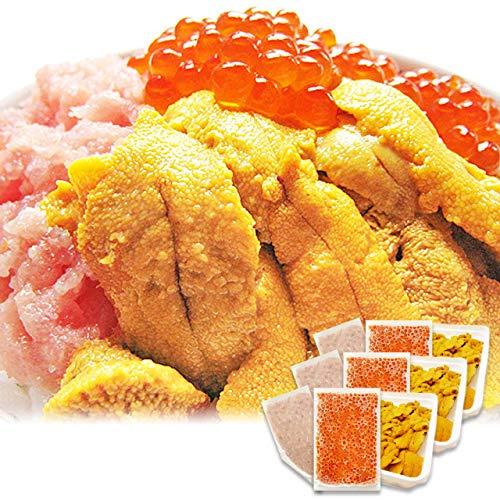 イカ屋荘三郎 海鮮丼セット(無添加 生食用ウニ 100g まぐろのタタキ 100g イクラ醤油漬け 95g) 各3個入 ギフト ヤマキ食品