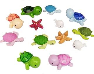 Ruzucoda Miniature Sea Turtle Dolphin Starfish Ocean Animal Figurines Ornaments Fairy Garden Office Decor Fish Tank Decora...