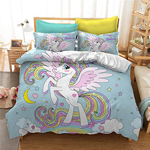 Funda Nórdica Unicornio Dibujos Animados Juego De Ropa De Cama Fundas De Edredón Nórdico/Fundas De Almohada (Unicornio#4, 180 × 220cm- Cama 105cm)