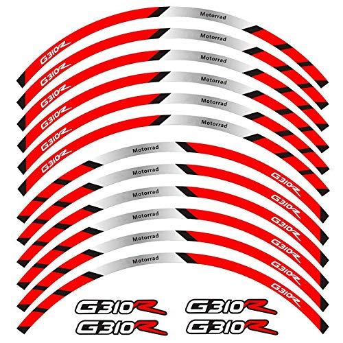12 PCS Ajuste de alta calidad Pegatina de la rueda de la rueda de la rueda de la raya de la raya reflectante para BMW G310R (Color : 2)