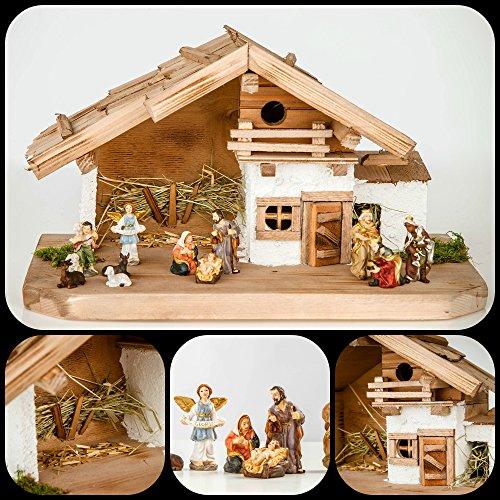 Große Weihnachtskrippe Krippe-(W17+KF7)- mit Figuren ca. 6 cm- Krippenstall Weihnachten-Weihnachtskrippen