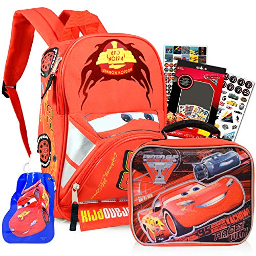 Disney Cars Backpack with Lunch Box for Preschool Toddler Kindergarten Boys Girls -- 11' Mini Backpack Bundle with Lunchbox, Water Bottle and Stickers