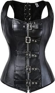 Women's Punk Rock Faux Leather Corset Bustier Basque Waist Cincher Bustier Lingerie
