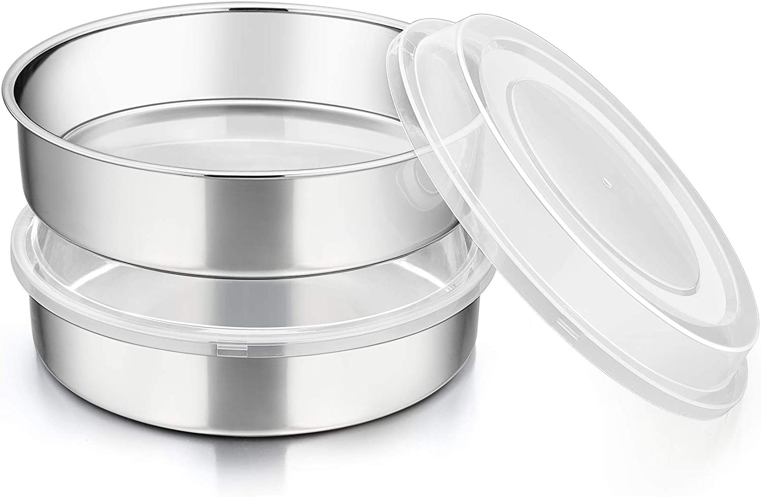 8-inch Round Baking Cake Pan with Lid, P&P CHEF Stainless Steel Cake Pan and Plastic Cover Set, For Wedding Birthday Picnic, Reusable & Durable, Dishwasher Safe (2 Pans + 2 Lids)