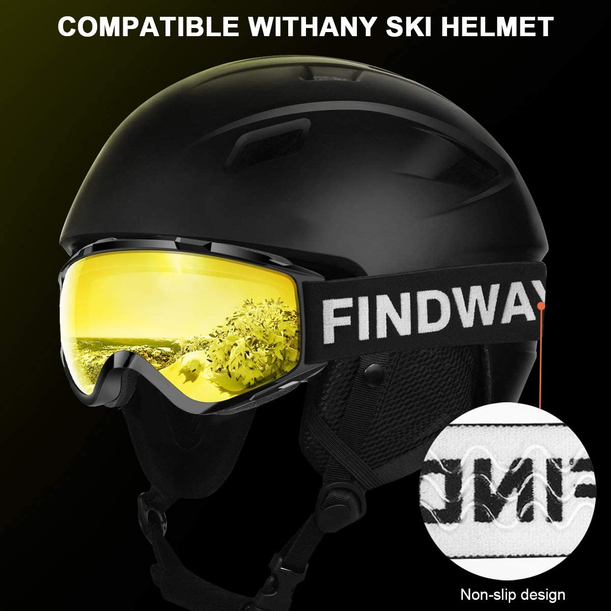 findway Ski Goggles Women /& Youth 100/% UV Protection Snow Goggles for Men OTG Design Helmet Compatible Scratch Resistant Anti-Fog Double Glasses Snowboard Goggles