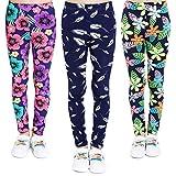 Adorel leggings estampado pantalón stretch para niña 3 pack floral y trígono y hoja 10 años (tamaño del fabricante 80)