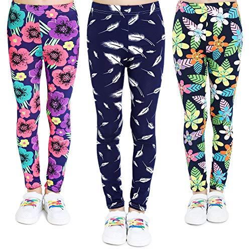 Adorel Leggings Estampado Pantalón Stretch para Niña 3 Pack Floral y Trígono y Hoja 5 Años (Tamaño del Fabricante 65)
