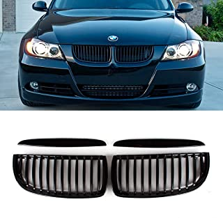 SNA Gloss Black ABS Front Kidney Grille with Single Slat Mesh Grill Compatible for BMW 3 Series E90 E91 M3 (2004-2008) 4-pc Set