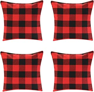 Jartinle 4 Pack Farmhouse Soft Cotton Red Black Buffalo Check Plaids Throw Pillow Cases Decorative Family Indoor or Outdoor Cushion Cover 18x18 inch