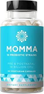 Momma Prenatal Probiotics Mom & Baby – Gut & Digestive Health for Pregnancy, Nursing, Morning Sickness Relief – 18 Potent Strains, 14 Billion CFU, Prebiotic – 30 Mini Vegetarian Soft Capsules