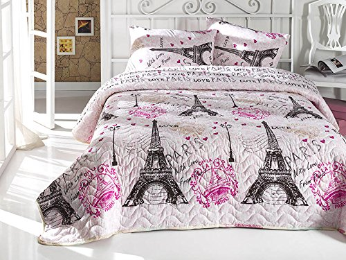 DecoMood with Love from Paris Bedding, Single/Twin Size Bedspread/Coverlet Set, Eiffel Tower Themed Girls Bedding, Pink, 2 PCS