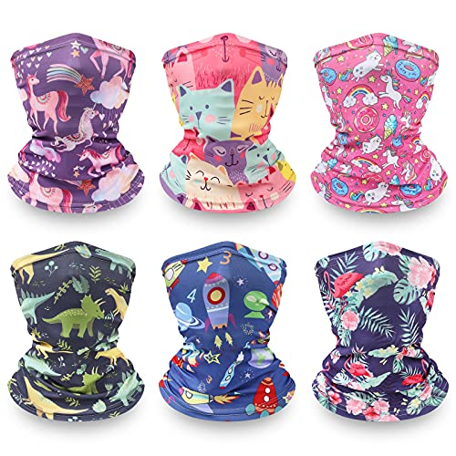 Kids Neck Gaiter Face Mask - Reusable Face Gators Scarf Balaclava for Girls and Boys (Mix)