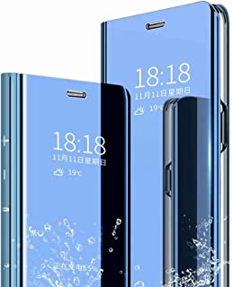 FanTing Case for Samsung Galaxy A70,Mirrored flip smart translucent case with automatic switch for Samsung Galaxy A70-Blue