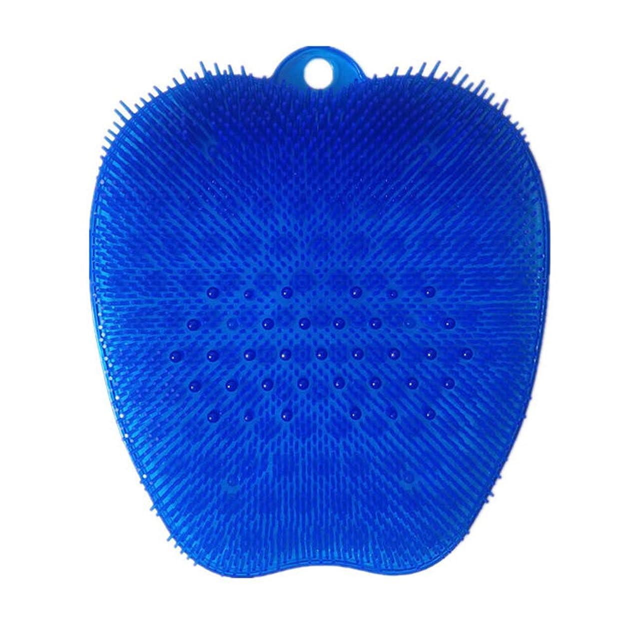 六月メディカル再生可能足洗いブラシ 滑らない吸盤付き ブルー フットケア フットブラシ 角質ケアブラシ お風呂で使える