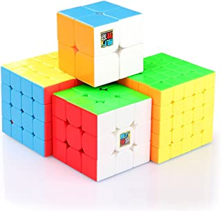 Coogam Moyu Cube Bundle 2x2 3x3 4x4 5x5 Speed Cube Set MF2S MF3S MF4S MF5S Pack Stickerless Brain Teaser Puzzle Toy for Kids Adults Challenge