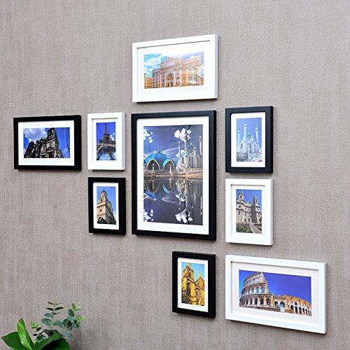 Fotolijst, massief houten foto aan de muur, 9 doos, creatieve Home Photo Wall 16 inch, fotolijst, combinatievand, wand oppervlakken, zwart en wit, de bouw van het hart