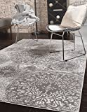Modern Vintage Inspired Overdyed Area Rugs Light Gray 9' x 12' FT Wembley Rug - Modern & Traditional Rugs for Living Room - Rugs for Dining Room & Bedroom - Floor Carpet