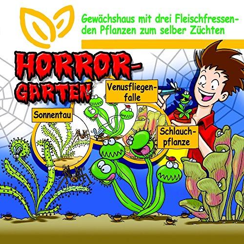 SAFLAX - Anzuchtset - Horror Garten - Groß - Für Kinder - Mit 3 Samensorten, Gewächshaus, Anzuchtsubstrat, 3 Kunststofftöpfen mit Untersetzer zum Umtopfen und Anleitung