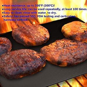 YOWAO BBQ Grillmatten, Nichthaftende Ofenauskleidung Kochmatten – Leicht zu reinigen, langlebig, hitzebeständig, Grillplatten zum Grillen von Fleisch (Packung mit 6 Matten)