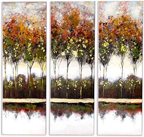 Schilderij -Handgeschilderd op canvas - 3-Luik Autumn Trees - 90X90 cm - Art Mall