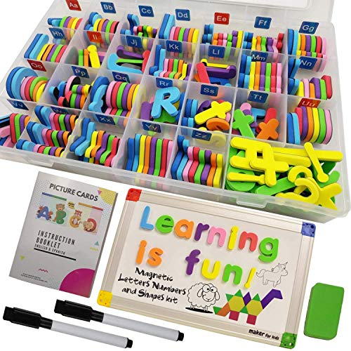 KOKO AROMA 291Pcs ABC Magnets Board Magnetic Letters Numbers and Shapes for Kids Toddlers with Storage Double-Side Drawing Whiteboard Uppercase Lowercase Foam Alphabet - Spelling Learning Games Set